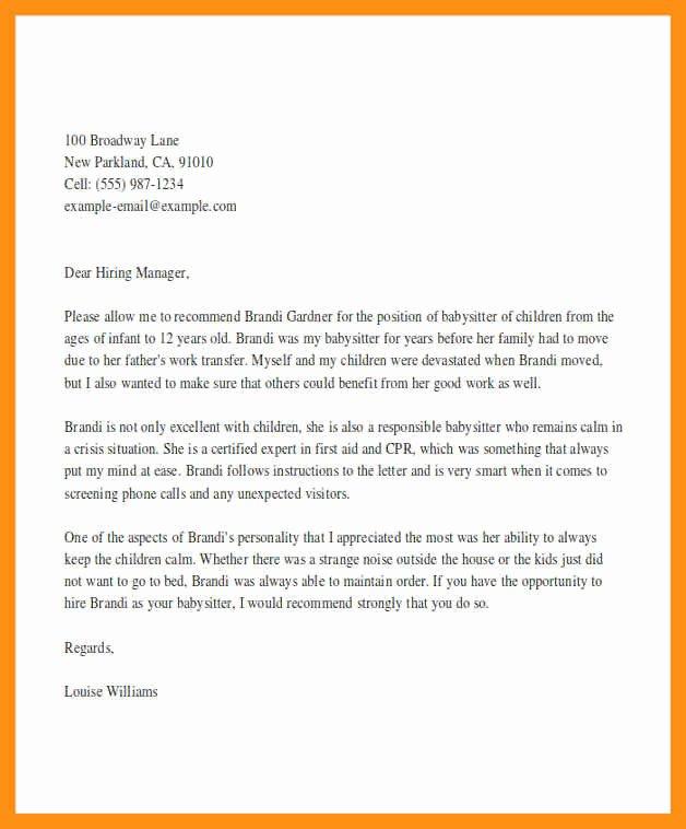 Letter Of Re Mendation Nanny