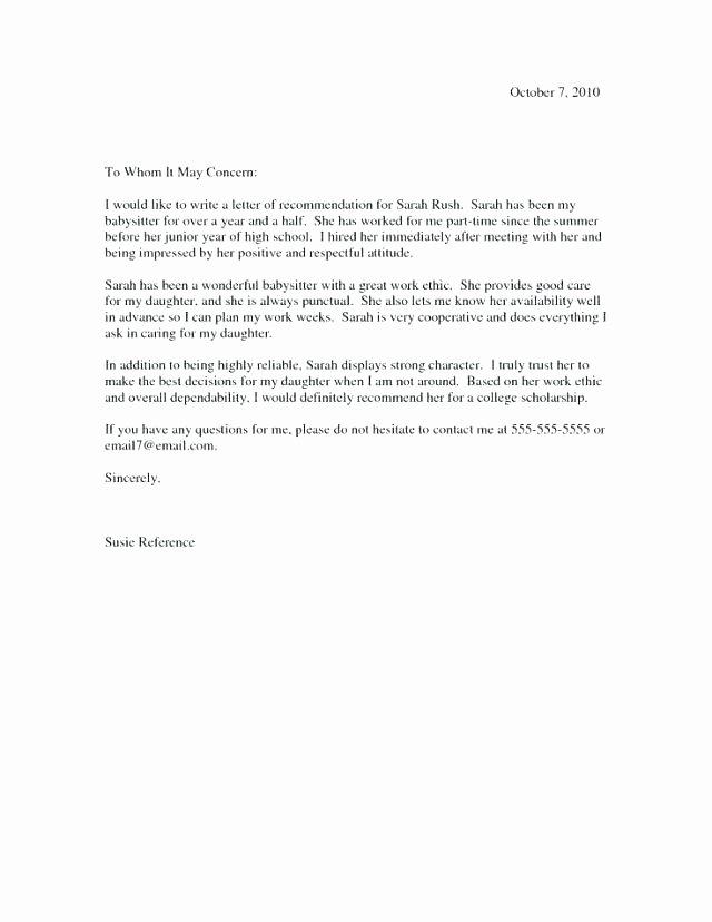 Letter Re Mendation for Babysitter Babysitter