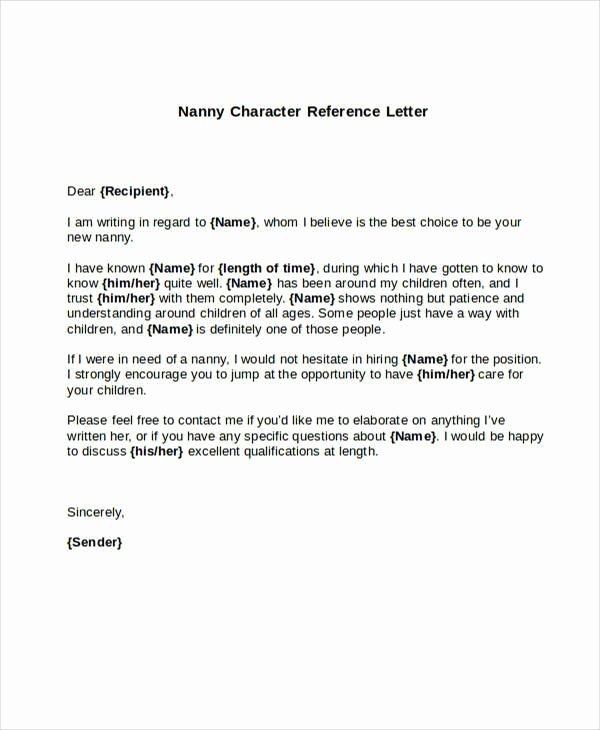 Letter Re Mendation for Nanny Letter Template