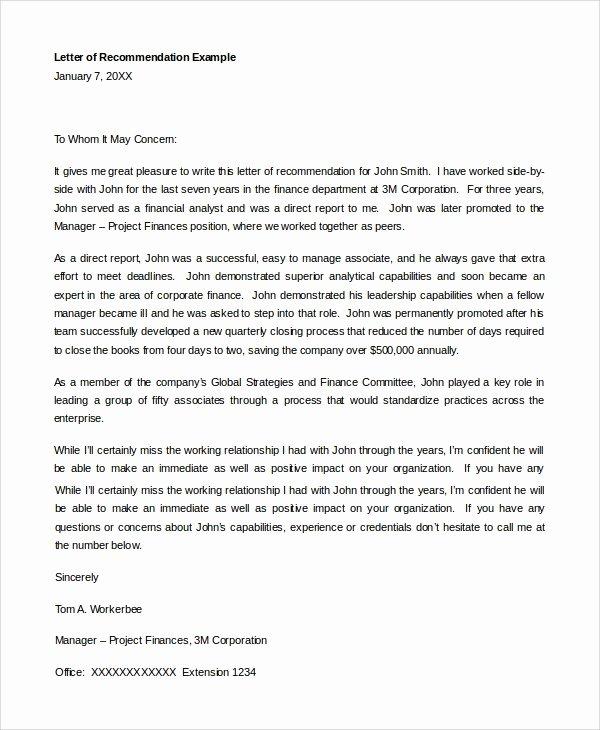 Letter Re Mendation for Student