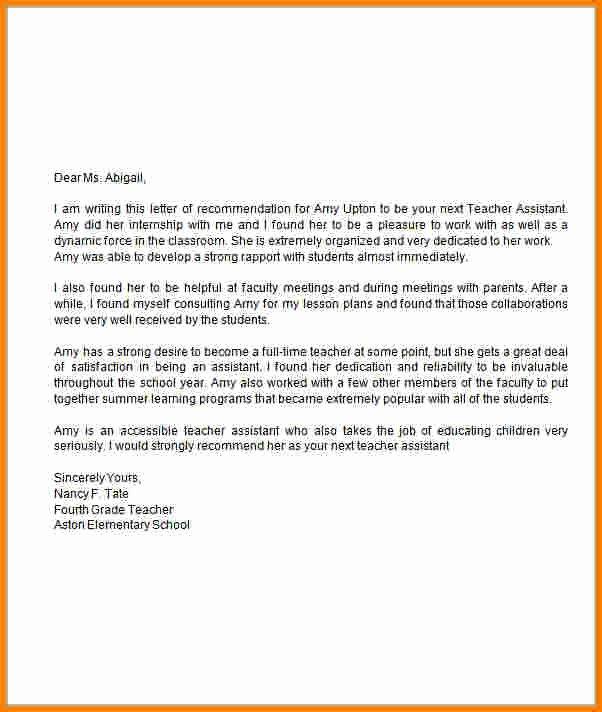Letter Re Mendation for Teacher assistant Sample