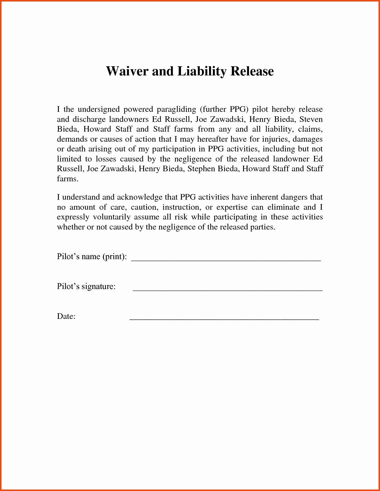 Letter Release Liability Template Collection