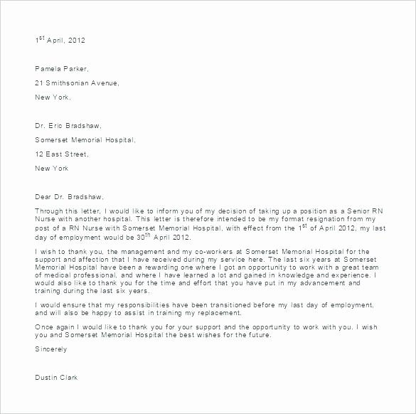 Letter Resignation Nursing Resignation Letter for