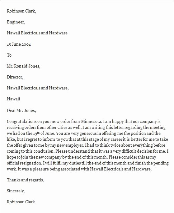 Letter Resignation Samples Template