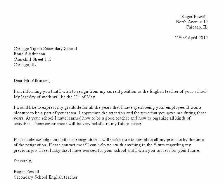 Letter Resignation Template