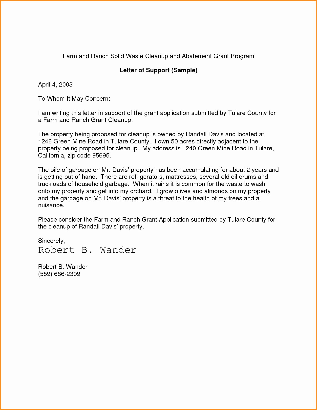 Letter Support Sample Template