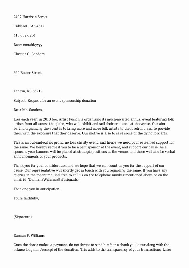 Letter Template asking for Donations