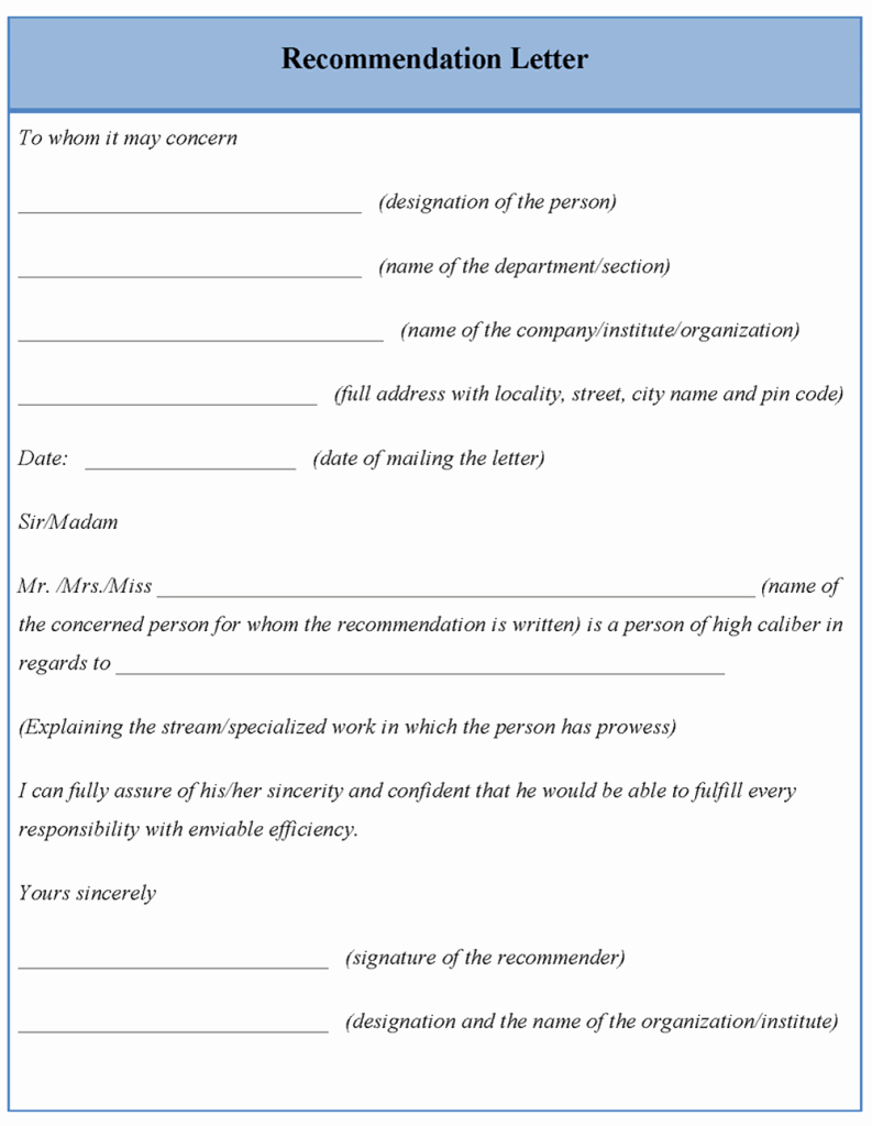 Letter Template for Re Mendation format Of