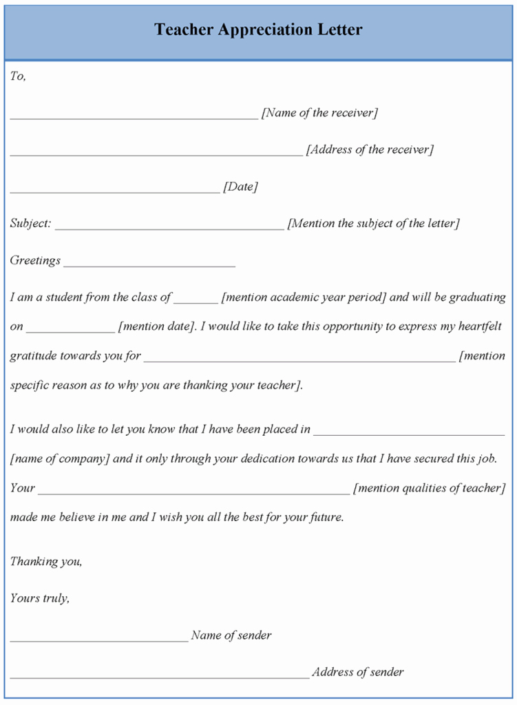 Letter Template for Teacher Appreciation format Of