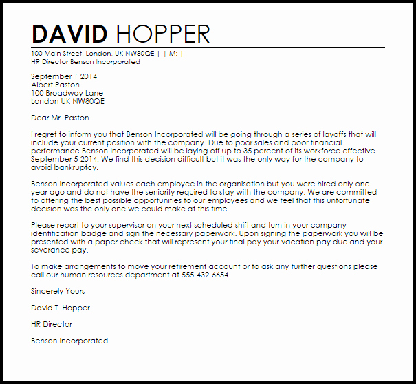 Letter Termination Due to Layoff