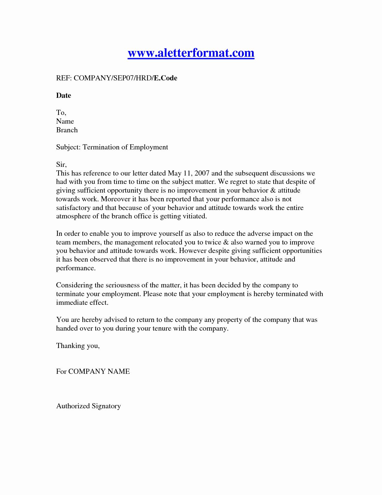 Letter Termination Employment