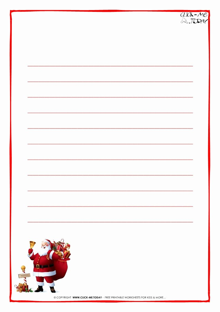 Letter to Santa Claus Paper Template with Lines Santa 15