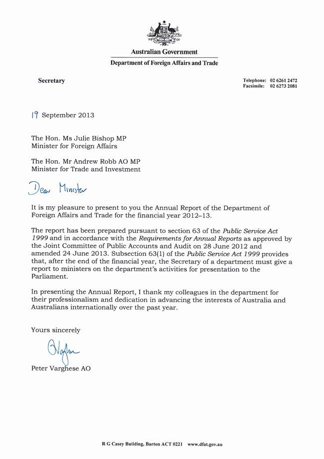 Letter Transmittal Australian Department foreign Affairs