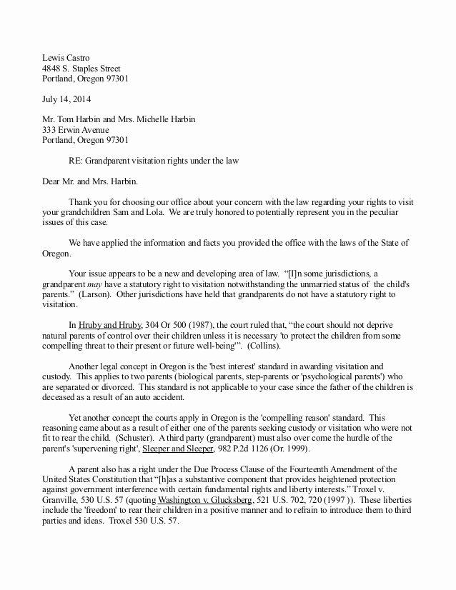 Letter Writing Sample for Grandparent Custody Possession