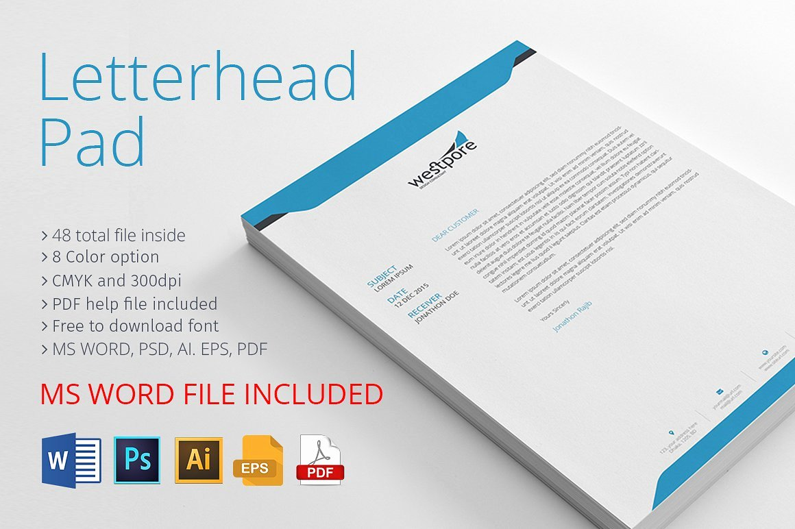 Letterhead with Ms Word Stationery Templates Creative