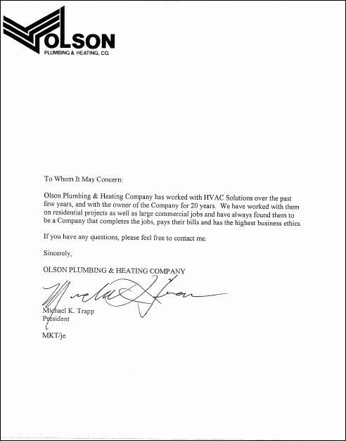 Letters Of Re Mendation Hvac solutions