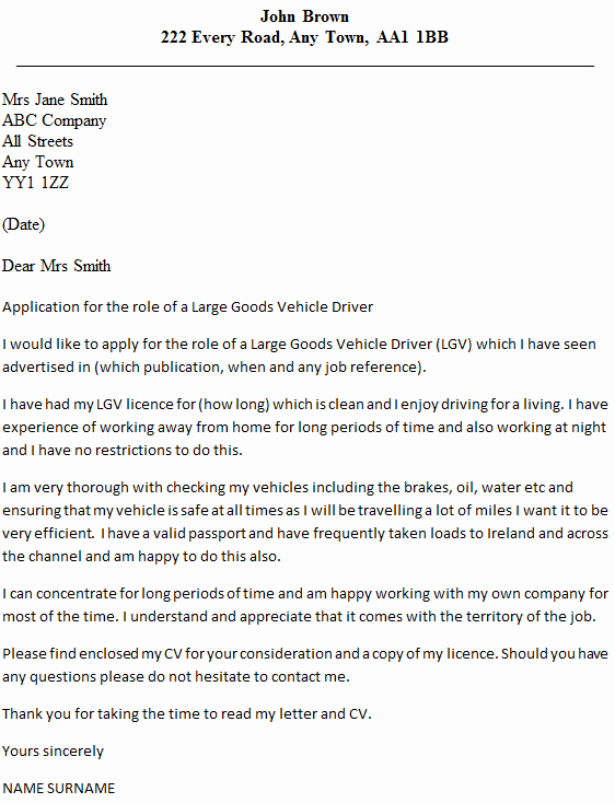 Lgv Driver Cover Letter Example Icover
