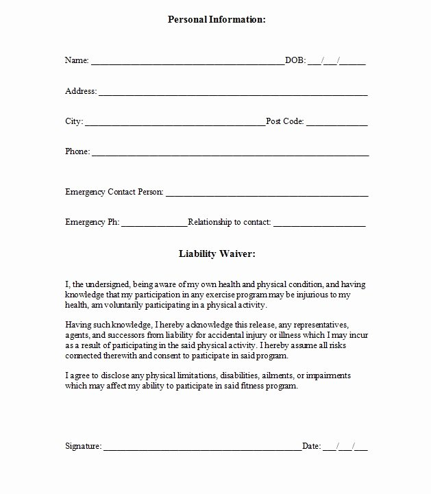 Liability Insurance Liability Insurance Waiver Template