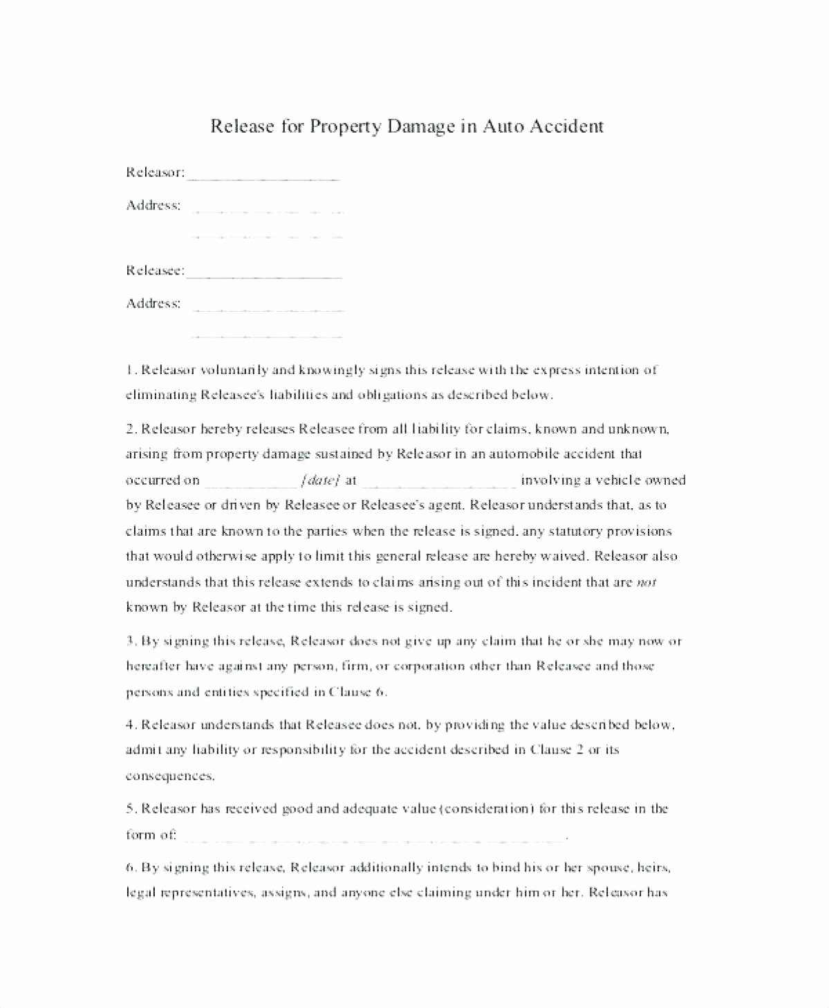 Liability Release Letter Damage Waiver form Property