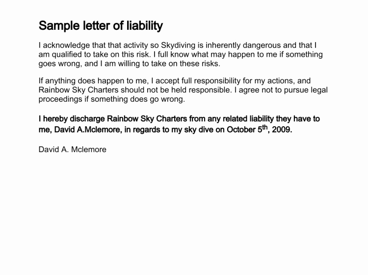 Liability Release Letter Free Printable Documents