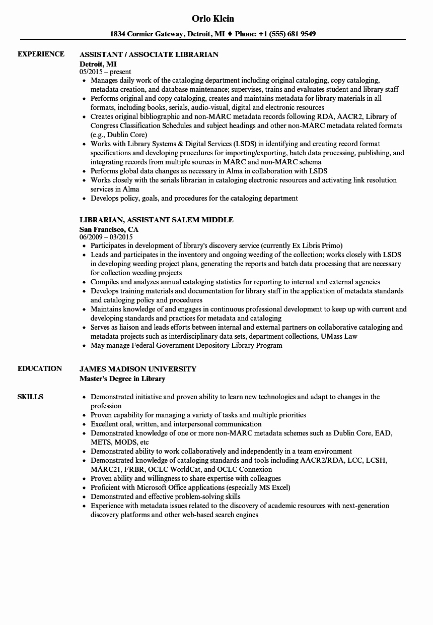 Librarian assistant Resume Samples