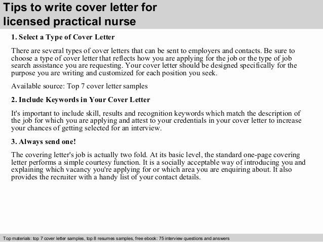 Licensed Practical Nurse Cover Letter