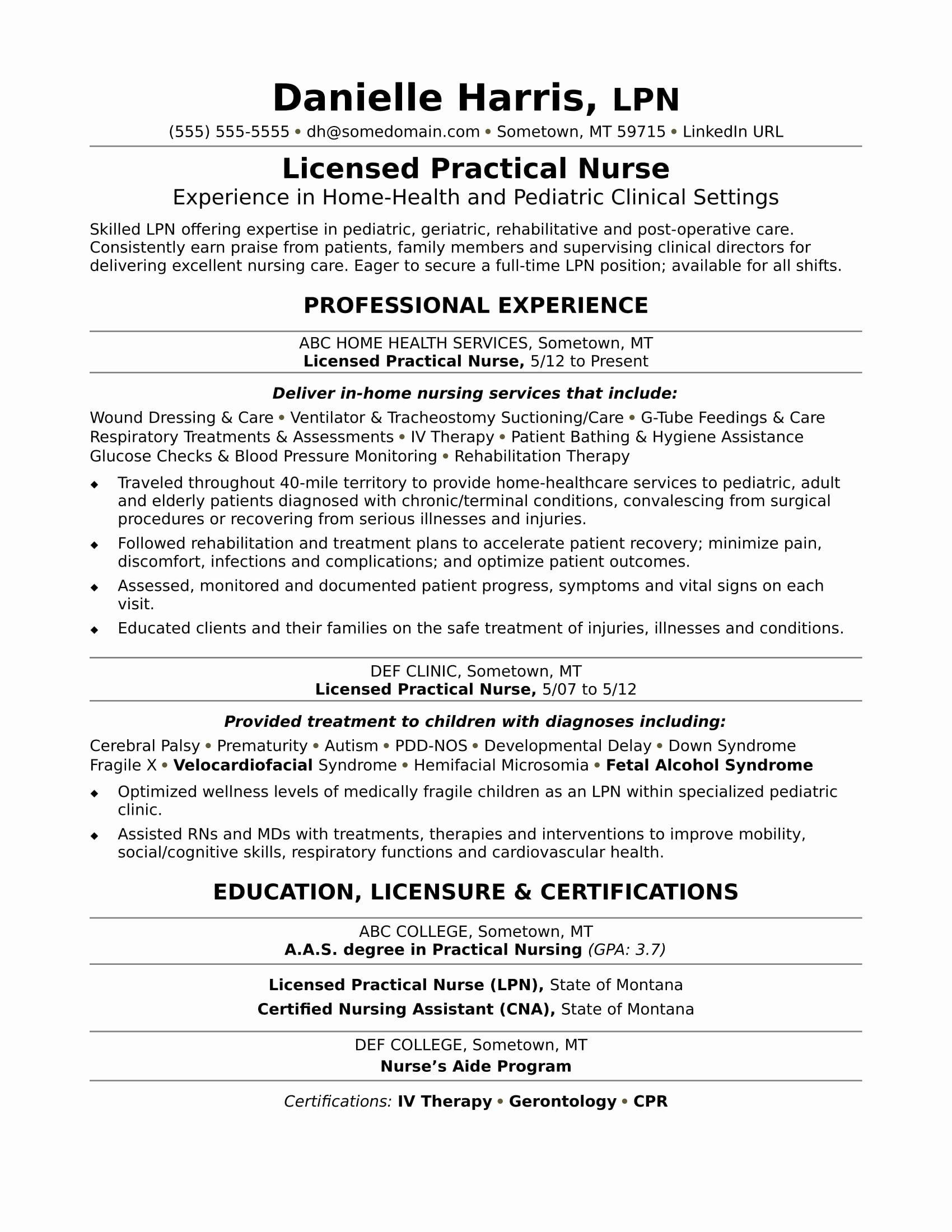 Licensed Practical Nurse Resume Sample
