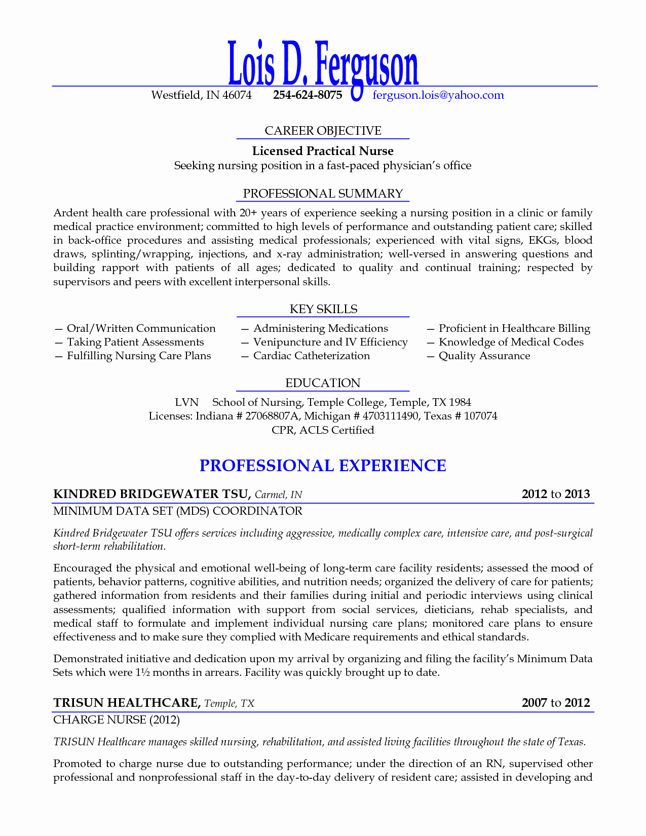 Licensed Practical Nurse Seeking Nursing Position Resume