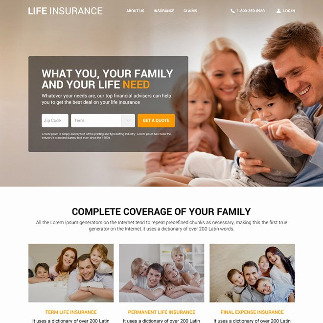 Life Insurance Agency Website Template Design Life