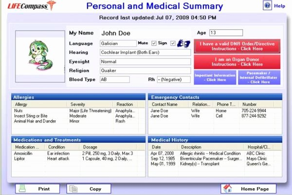 Life Pass Personal Health Records software Usb Key