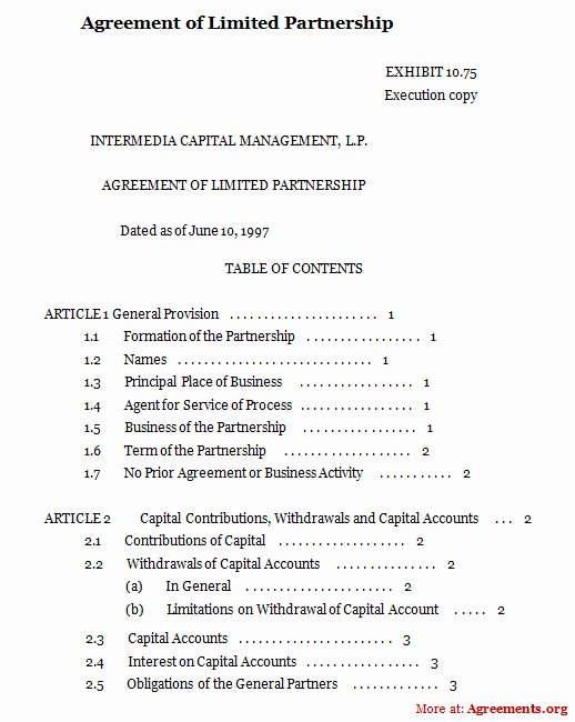 Limited Partnership Agreement Sample Free Printable