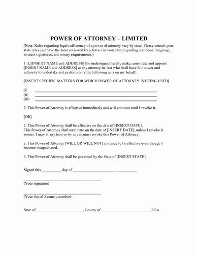 Limited Power Of attorney form Download Create Fill