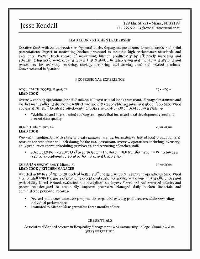 Line Cook Job Description for Resume Beautiful Cook Job