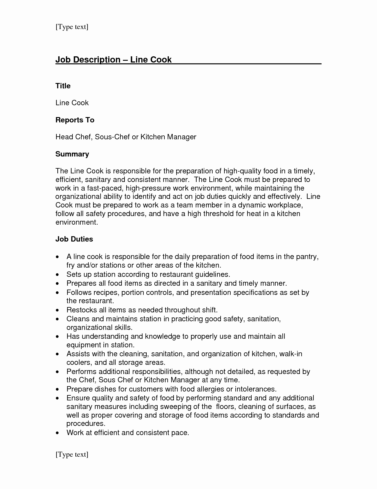 Line Cook Job Description for Resume Sidemcicek