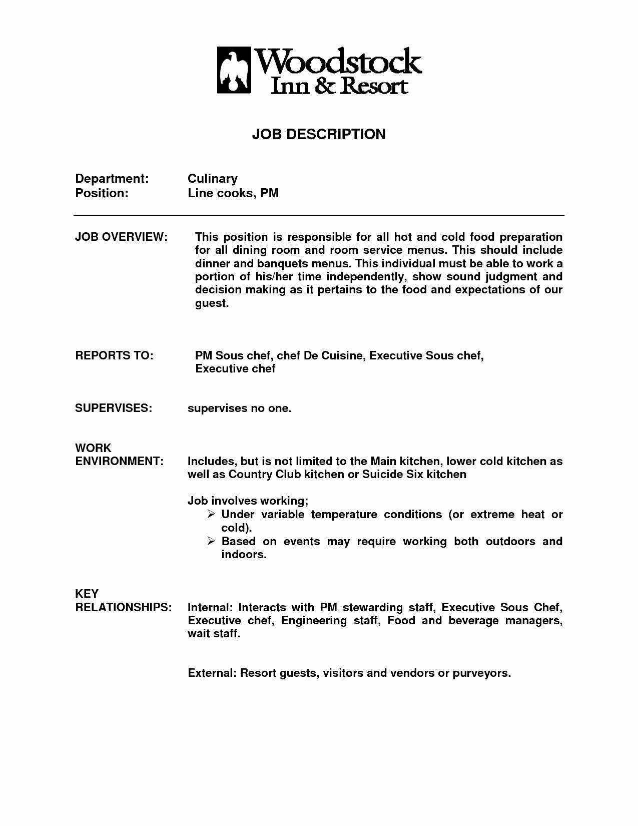 Line Cook Job Description for Resume Sidemcicek