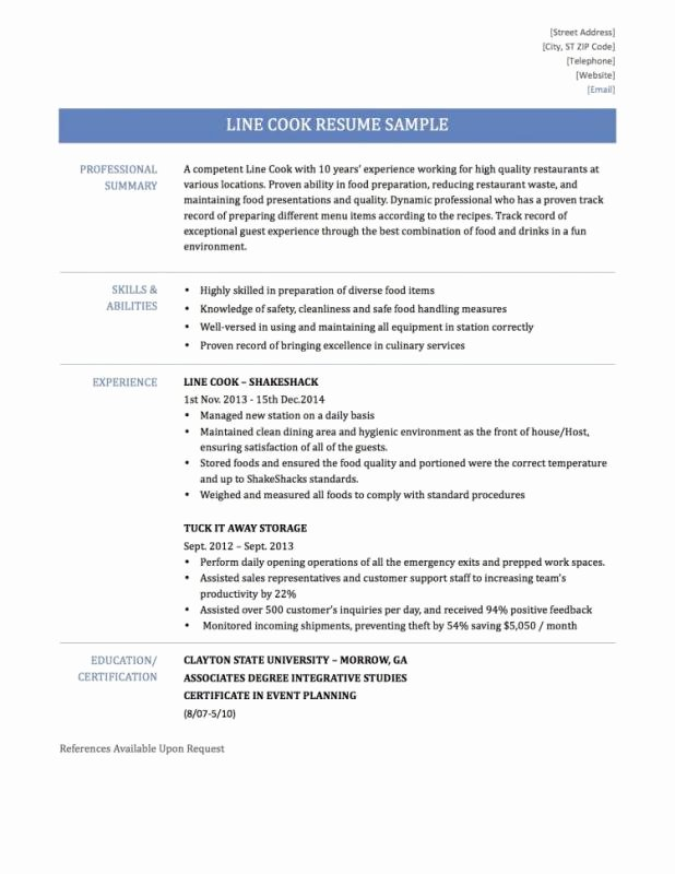 Line Cook Resume Examples