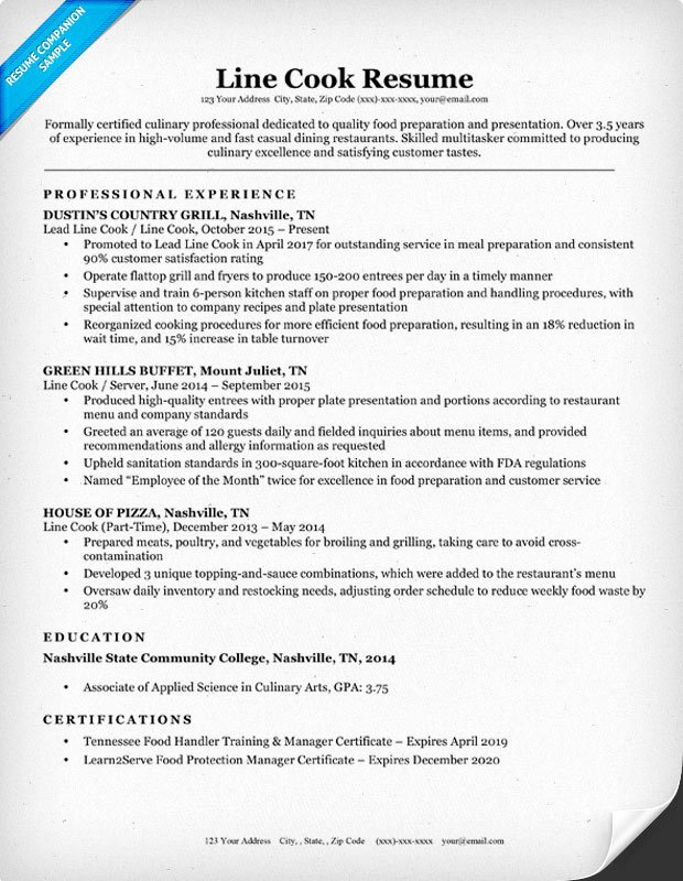 Line Cook Resume Sample & Writing Tips
