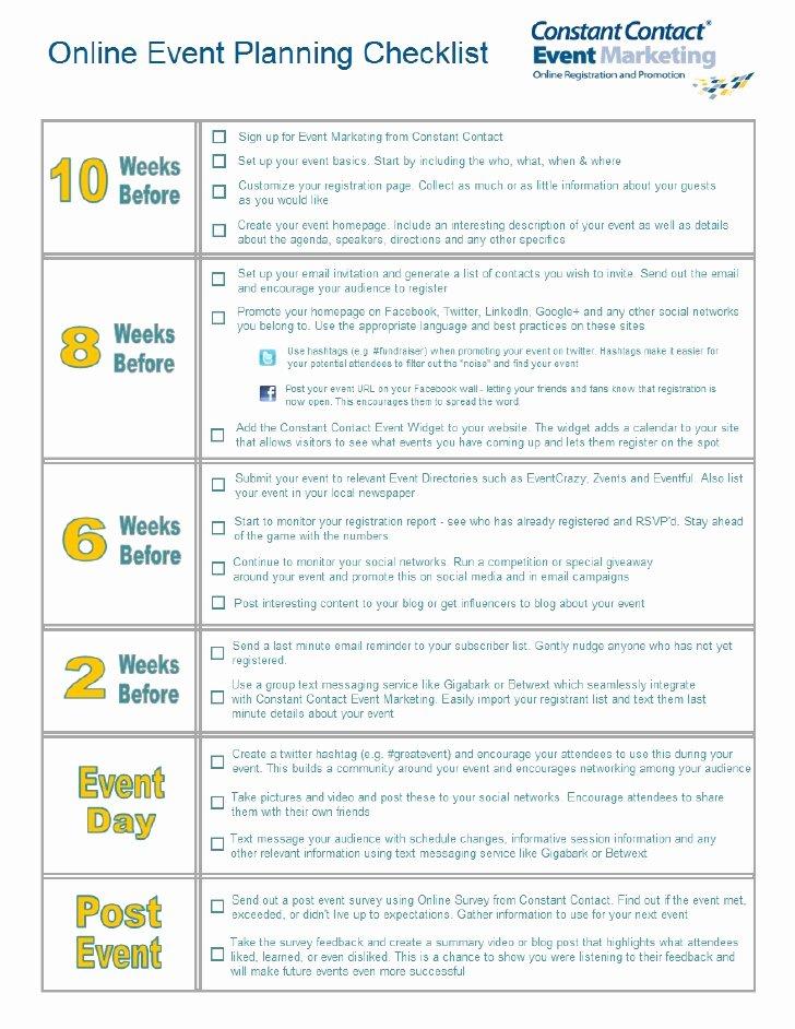 Line event Planning Checklist