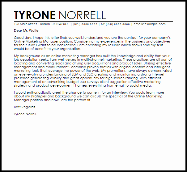 Line Marketing Manager Cover Letter Sample