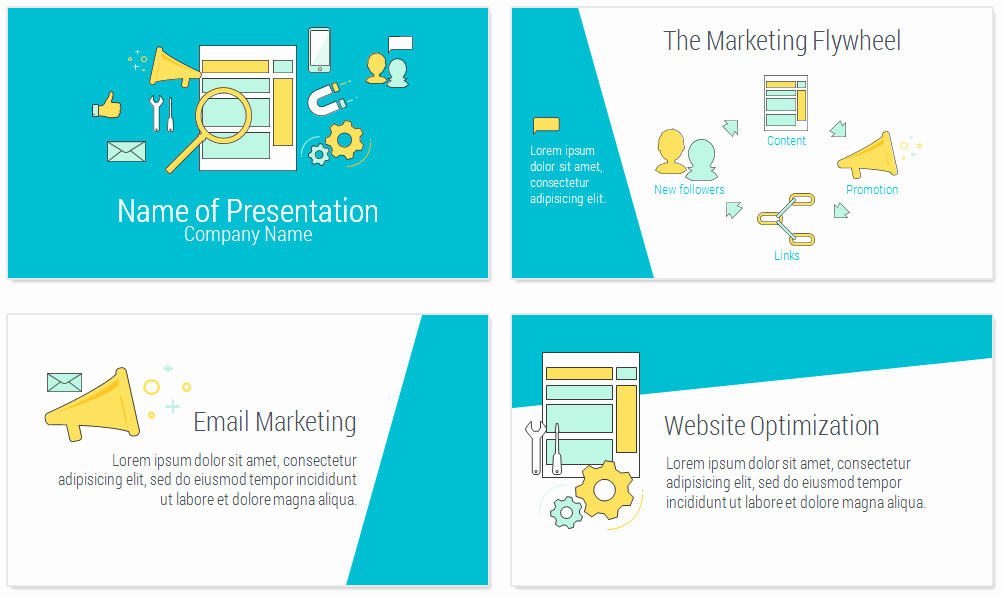 Line Marketing Powerpoint Template Presentationdeck