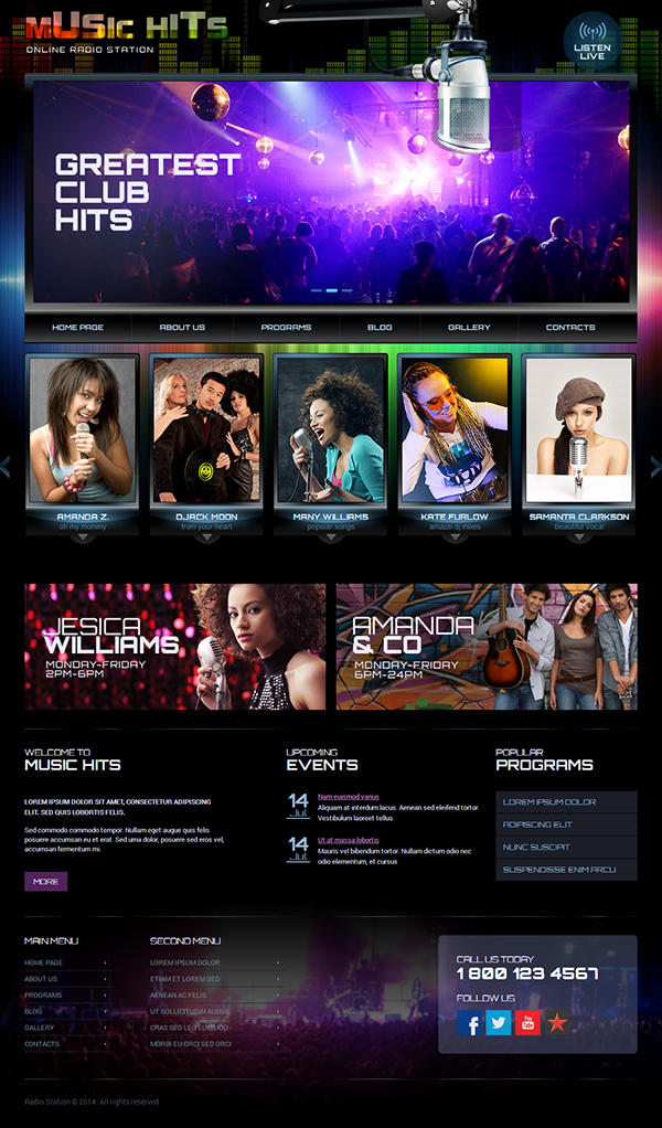 Line Radio Station Wordpress Template On Behance
