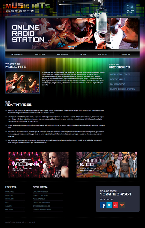 line Radio Station WordPress Template