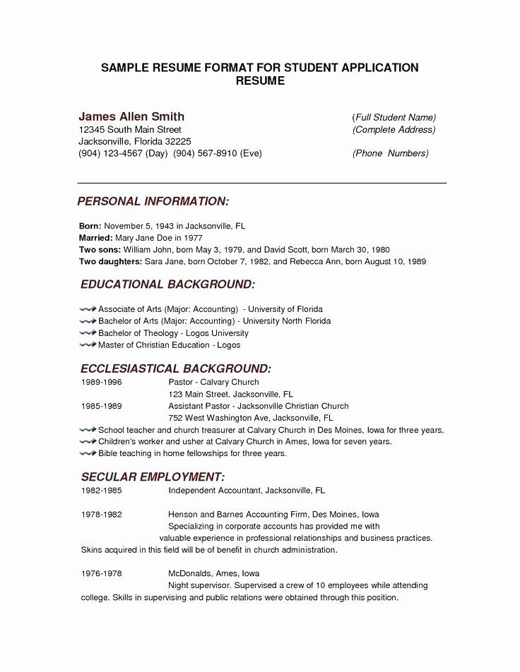 Line Resume Builder for College Students Student Sample