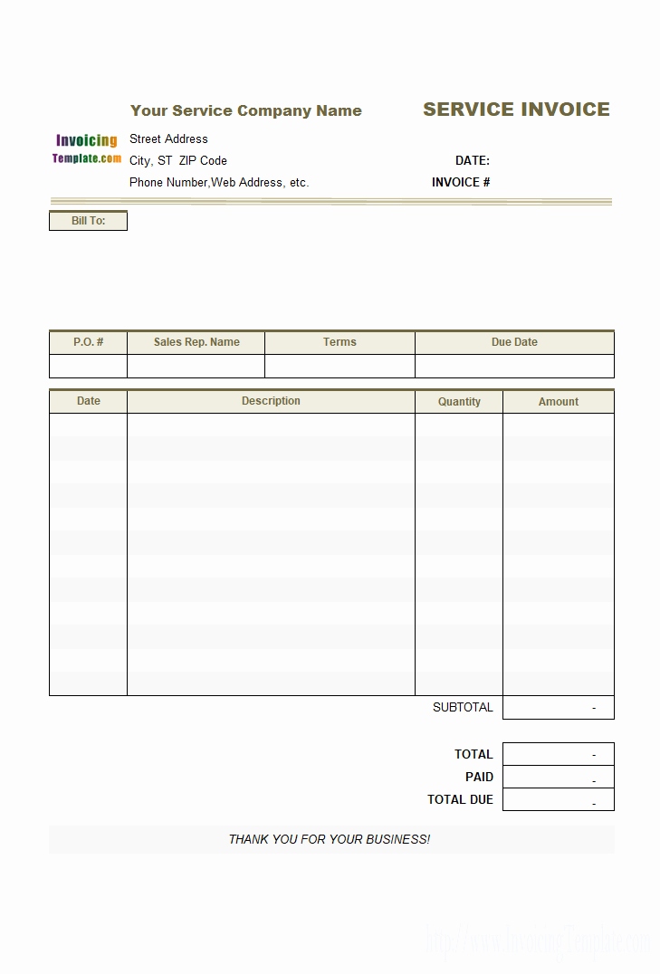 Line Service Invoice Template for Life Coaching