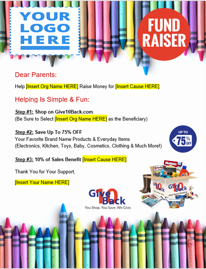 Line Shopping Fundraiser School Promotional Flyers with