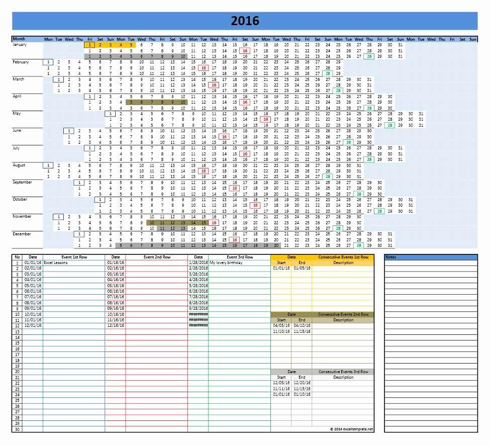 Linear Calendar Template 2016