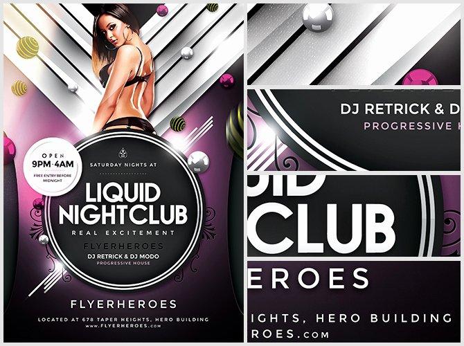Liquid Nightclub Flyer Template Flyerheroes