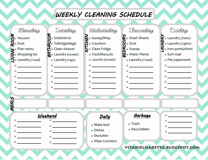 List Junkie Weekly Cleaning Schedule Free Printable