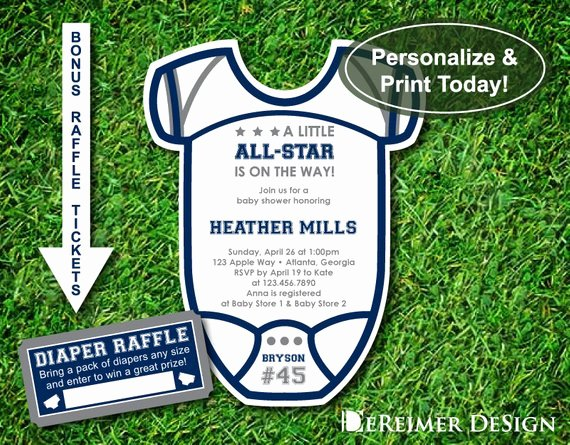 Little All Star Baby Shower Invitation Sports by