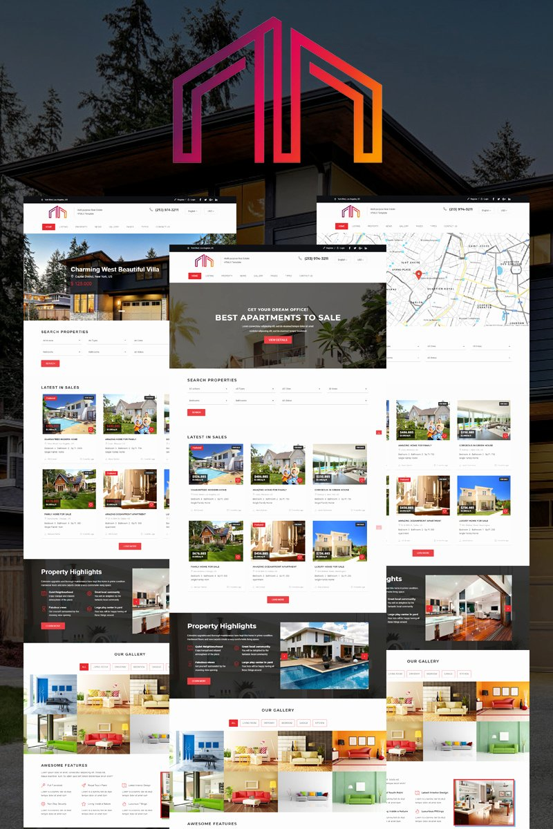 Live Preview for Manour Real Estate Bootstrap HTML5